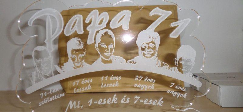 üveg gravírozás papa 71 születésnap